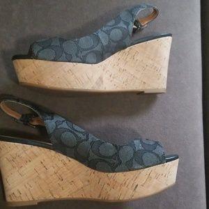 Coach cork wedge sandal